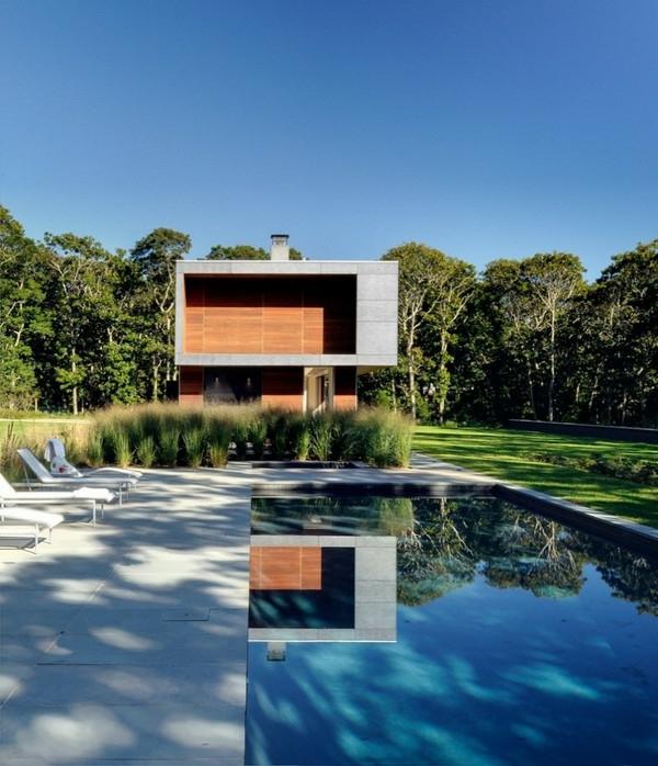 holz fassade sommerhaus natur wald pool