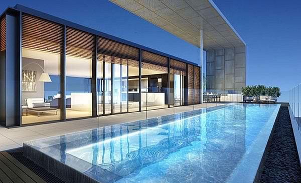 moderne architektur dachpool terasse einlegen
