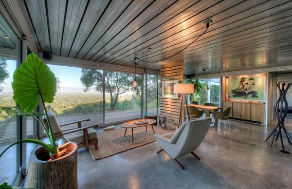 moderne architektur wohnideen glaswände naturlook standleuchten wohnzimmer