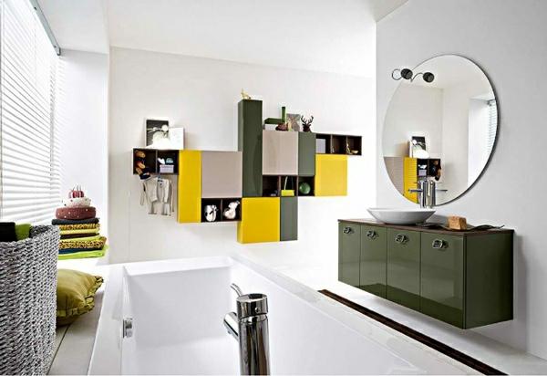 moderne badezimmer badmöbel gelb grün