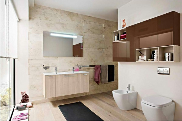 moderne badezimmer ideen warme farbgestaltung
