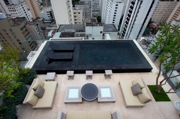 moderne dachterrasse minimalistisch gestalten mitten in der stadt