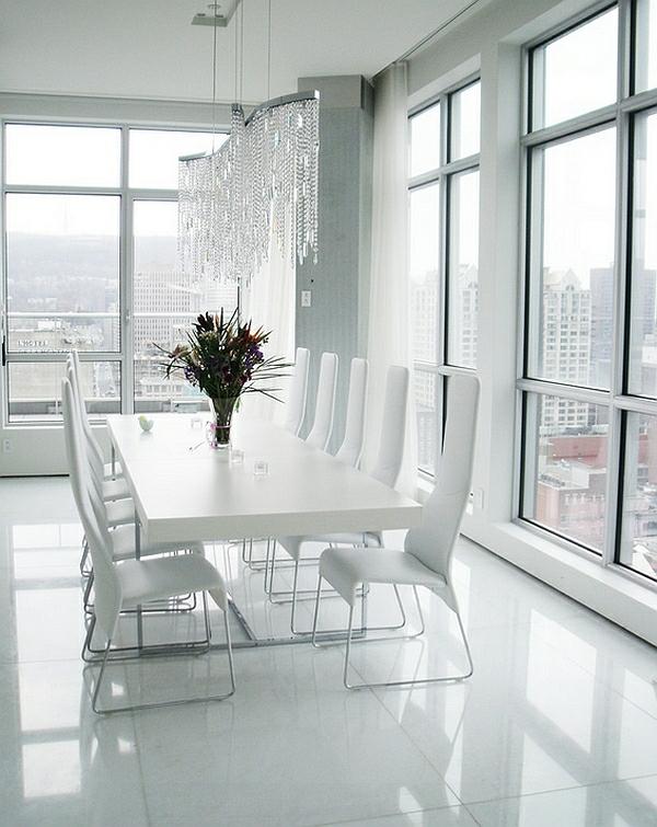 moderne esszimmer komplett in weiß fliesenboden minimalistisch