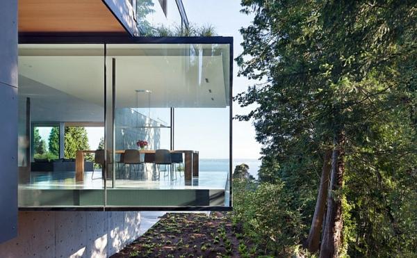 moderne esszimmer möbel esstisch stühle glaswände