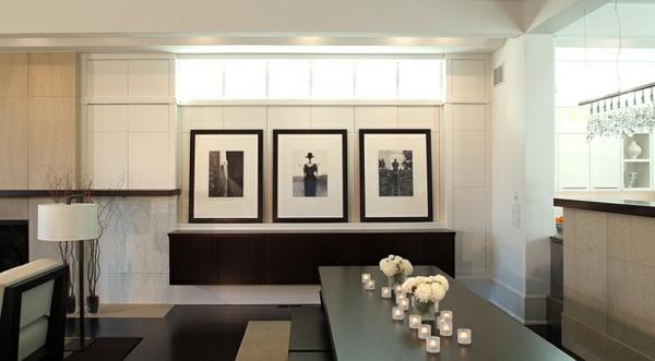 moderne eszimmer schwarz weiß holztisch tischdeko kerzen