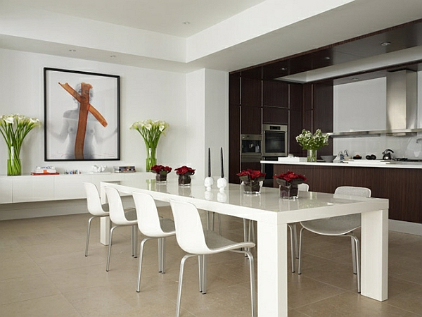 moderne eszimmer weiß stilvoll minimalistisch wandddeko