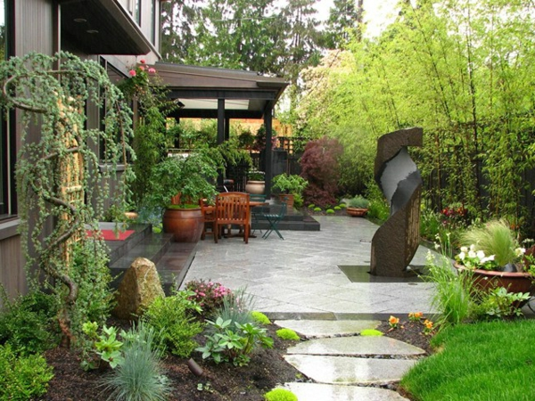 gärten bilder beispiele gartengestaltung baum hinterhof