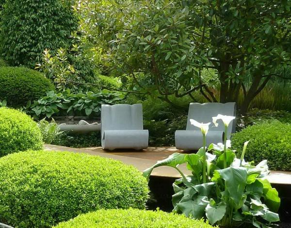 moderne gärten bilder beispiele gartengestaltung strauch grün