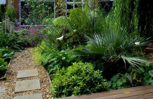 moderne gärten bilder fußweg platten kies