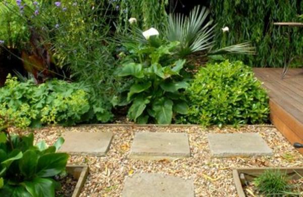 moderne gärten bilder steinplatten