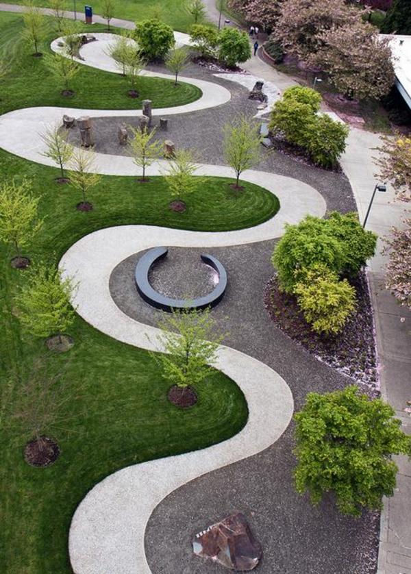 moderne gartengestaltung beispiele gebogene umrandung pflanzenbeete - Moderne Gartengestaltung