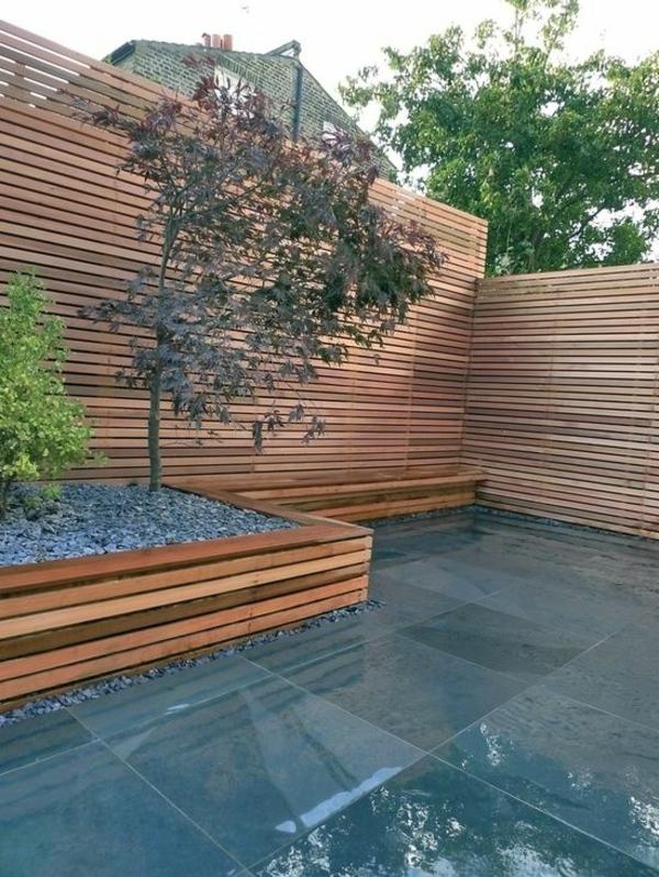 Moderne gartengestaltung beispiel minimalistisch bäume patio