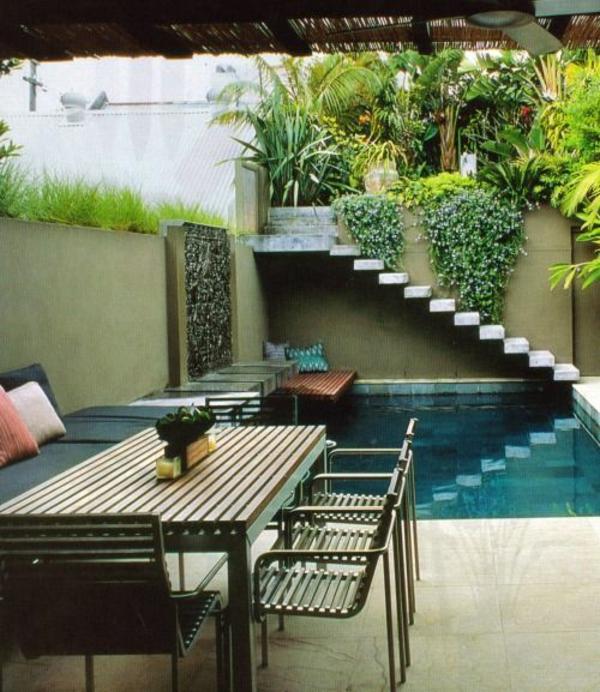 moderne gartengestaltung ideen pool pflanzen gartenmöbel