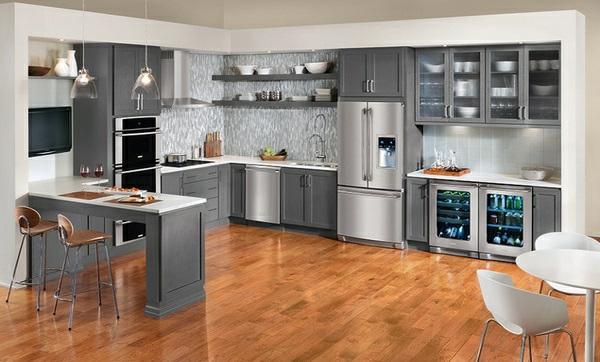 Küchenmöbel einzeln  15 moderne graue Küchenschränke in warmen Nuancen