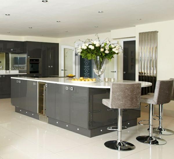 Moderne graue küchenschränke küchenmöbel küchenhocker