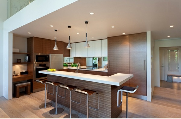 moderne küche l förmig kücheninsel als bar barhocker