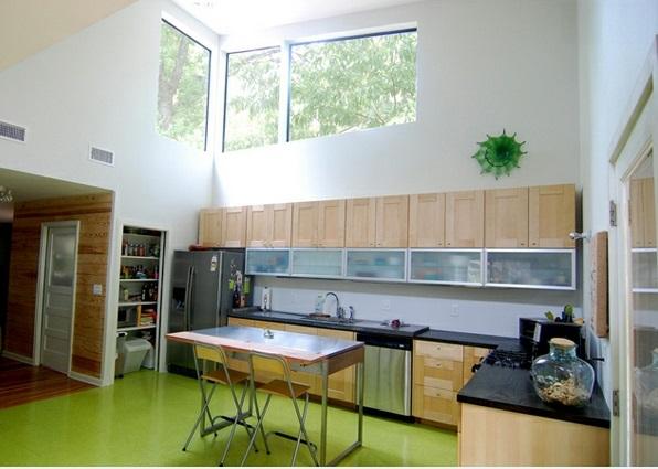 moderne küchen l förmig holzmöbel grüner boden tisch