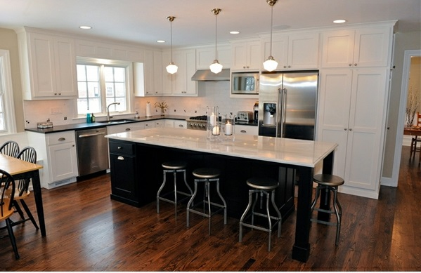 moderne küchen l förmig kücheninsel weiß braun