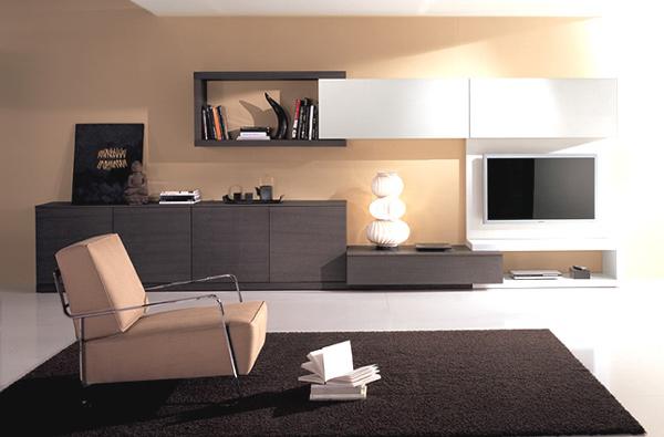 minimalistische wohnzimmergestaltung ideen braun