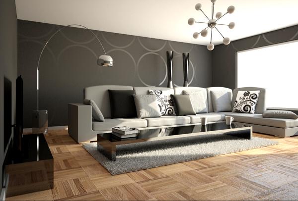 moderne minimalistische wohnzimmergestaltung ideen farben bodenbelag