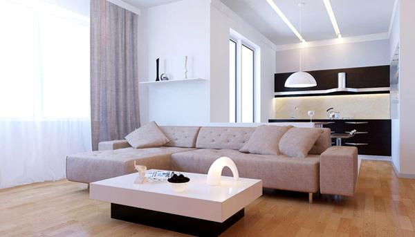 moderne minimalistische wohnzimmergestaltung ideen farben pur