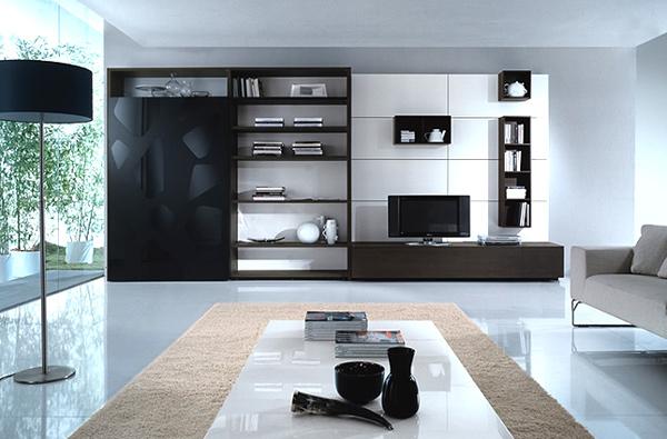 moderne minimalistische wohnzimmergestaltung ideen farben wohnwand