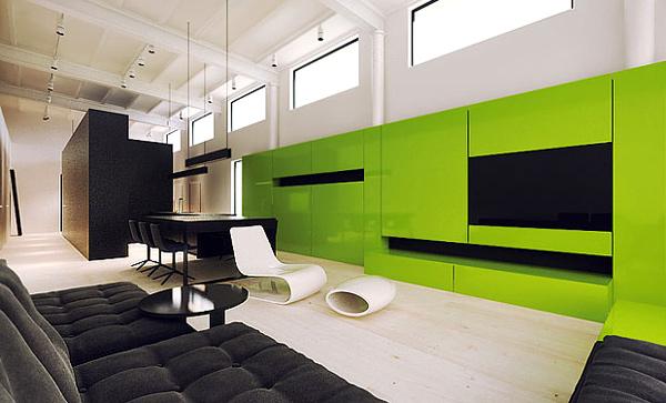 moderne simple wohnzimmergestaltung ideen grün wohnwand