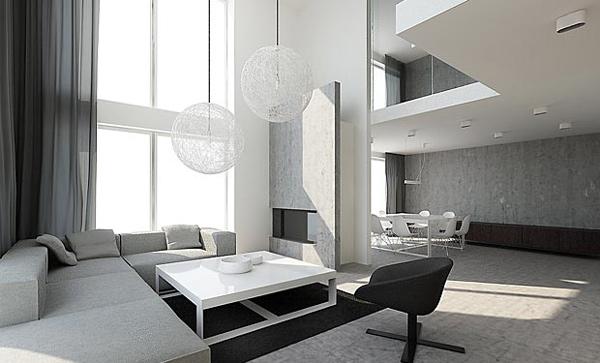 moderne luftig lampen wohnzimmergestaltung ideen grafisch
