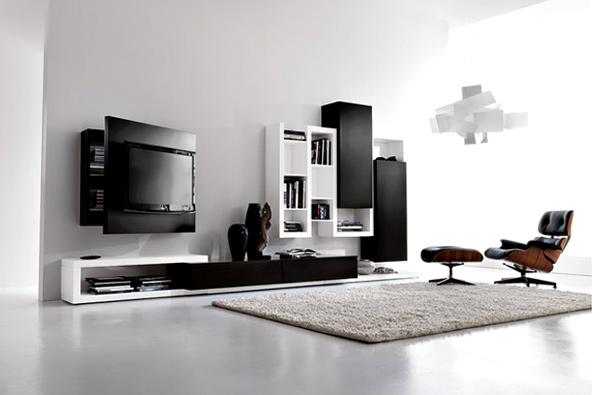 moderne minimalistische wohnzimmergestaltung ideen schwarz weiß