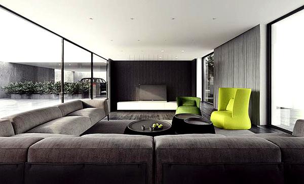 moderne minimalistische wohnzimmergestaltung ideen wohnlandschaft