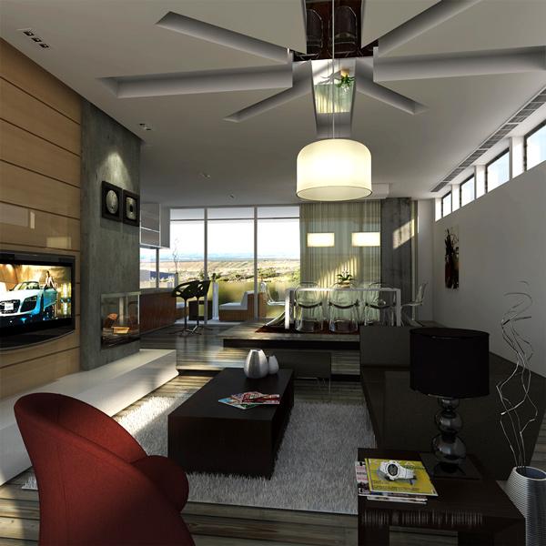 moderne baumaterialien wohnzimmergestaltung ideen