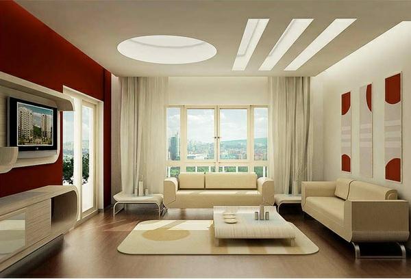 moderne wohnzimmer akzentwand streichen wandfarbe kastanienbraun weiß