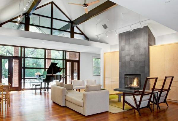 moderne wohnzimmer designs hohe gewölbte zimmerdecke