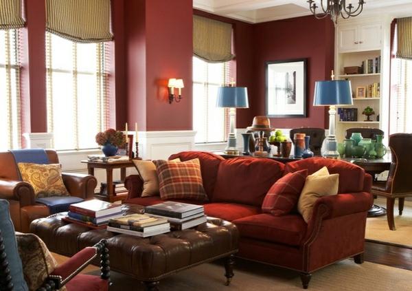 moderne wohnzimmer wände streichen wandfarbe kastanienbraun blau farbakzente