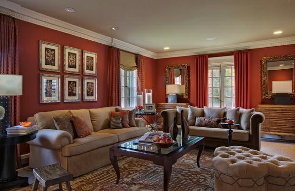 Moderne Wohnzimmer Wände Streichen Wandfarbe Kastanienbraun Gardinenideen