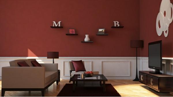 moderne wohnzimmer wände streichen wandfarbe kastanienbraun