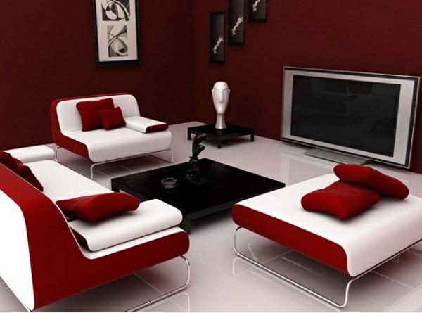 moderne wohnzimmer wandfarbe farbpalette kastanienbraun rot weiß