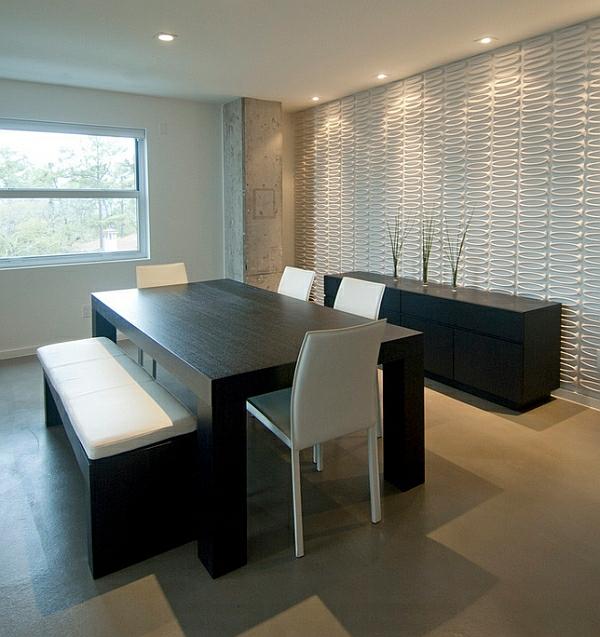 modernes esszimmer im minimalistischen stil schwarz weiß möbel aus holz