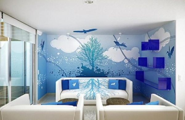 modernes wohnzimmer design blaue wandtapete himmel