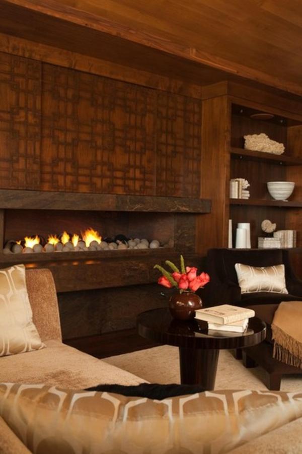 modernes wohnzimmer design feuerstelle dekoideen tisch