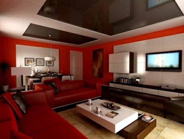 modernes wohnzimmer design rote ledermöbel