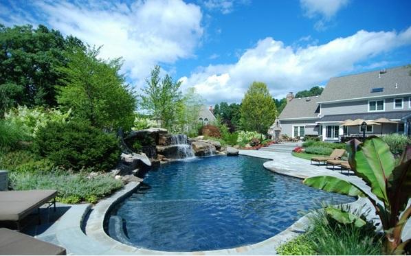natürliche pools schwimmbecken gartenpool laub Swimmingpool im Garten