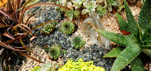 niedrige pflanzen kieselsteine garten patio