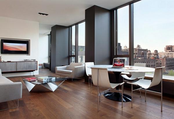 offenner wohnbereich holzboden moderne esszimmer rundtisch