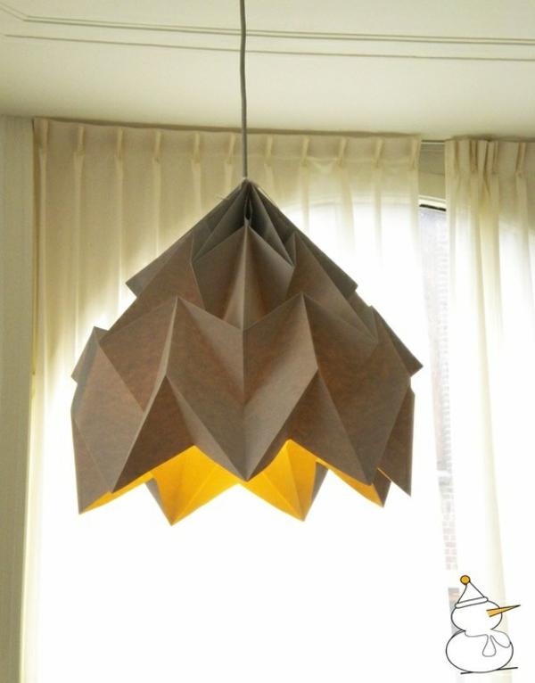 origami lampenschirme ideen DIY eckig warm ambiente