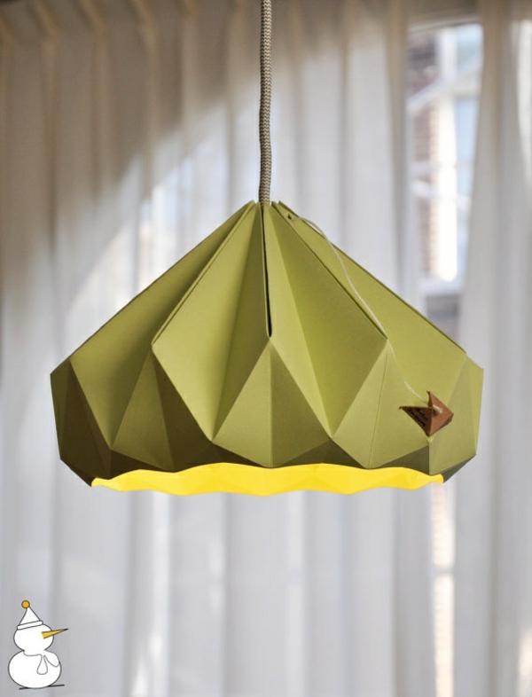 origami lampenschirme ideen DIY grün
