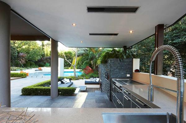 küchenmöbel garten modern überdachung
