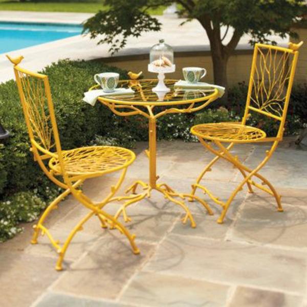 outdoor möbel gastronomie patio stühle gelb
