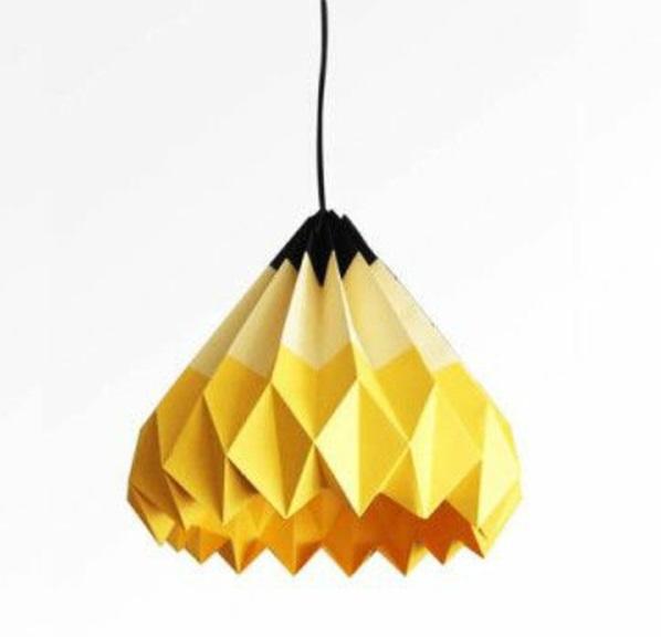papierlampen origami pendelleuchten gelb