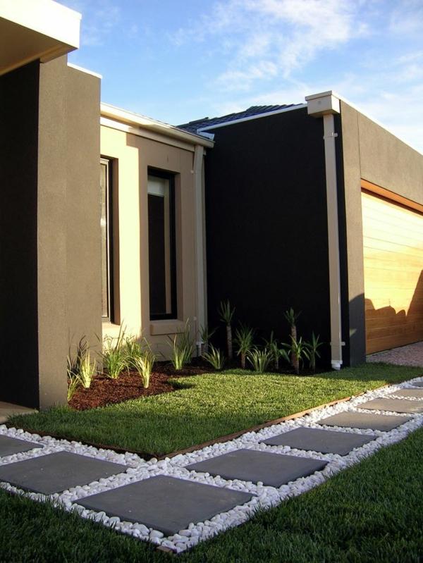 patio design moderne vorgartengestaltung rasenfläche pflanzen betonplatten
